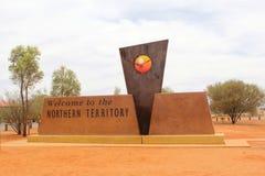 欢迎到北方领土纪念碑,澳大利亚 免版税库存图片