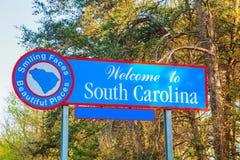 欢迎到南卡罗林纳符号 免版税库存照片