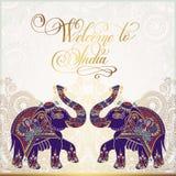 欢迎到印度旅行卡片海报 免版税图库摄影