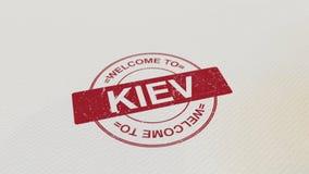 欢迎到在本文的基辅邮票红色印刷品 3d翻译 向量例证