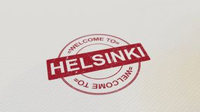 欢迎到在本文的赫尔辛基邮票红色印刷品 3d翻译 库存例证