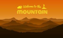 欢迎到在橙色山层数摘要背景传染媒介设计的山文本 库存例证