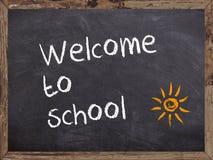 欢迎到在黑板写的学校 免版税库存图片