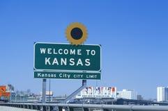 欢迎到堪萨斯符号 免版税库存照片