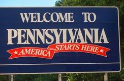 欢迎到宾夕法尼亚符号 库存图片