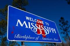 欢迎到密西西比状态路标 免版税库存图片