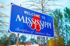 欢迎到密西西比符号 库存照片