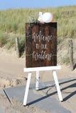 欢迎到我们的婚礼 免版税库存照片