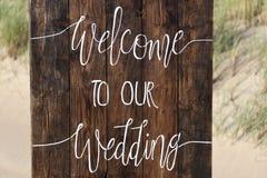 欢迎到我们的婚礼 库存照片