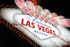 欢迎到拉斯维加斯霓虹灯广告,内华达,美国 库存照片