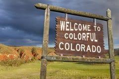欢迎到科罗拉多标志 免版税库存图片