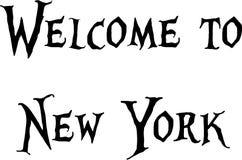 欢迎到纽约文本标志 图库摄影