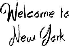 欢迎到纽约文本标志 库存图片