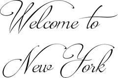 欢迎到纽约文本标志 免版税库存照片