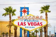 欢迎到美妙的拉斯维加斯标志,拉斯韦加斯大道,内华达,美国 图库摄影