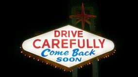 欢迎到美妙的拉斯维加斯内华达标志(圈) 股票录像