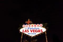 欢迎到美妙的拉斯维加斯内华达霓虹灯广告 图库摄影