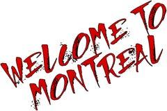 欢迎到蒙特利尔文本标志例证 免版税库存照片