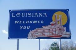欢迎到路易斯安那符号 库存图片