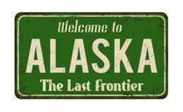 欢迎到阿拉斯加葡萄酒生锈的金属标志 向量例证