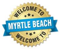 欢迎到默特尔海滩徽章 库存图片