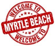 欢迎到默特尔海滩邮票 免版税库存照片