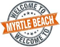 欢迎到默特尔海滩橙色丝带邮票 库存例证