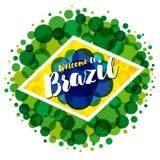 欢迎到巴西横幅 库存例证