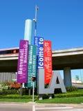 欢迎到Las安赫莱斯标志 免版税图库摄影