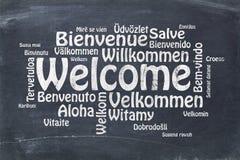 欢迎用不同的语言 免版税库存照片