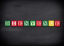 欢迎用法语 库存图片