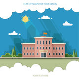 欢迎的回到学校 在城市的背景的大厦 免版税库存照片