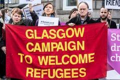 欢迎难民的格拉斯哥竞选 免版税库存照片