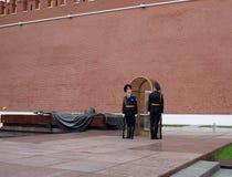 欣慰岗位的一个哨兵在永恒火焰在坟茔 免版税图库摄影
