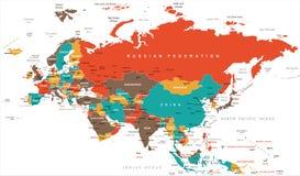 欧亚大陆欧罗巴俄罗斯中国印度印度尼西亚泰国地图-传染媒介例证 皇族释放例证