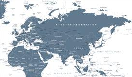 欧亚大陆欧罗巴俄罗斯中国印度印度尼西亚泰国非洲地图-传染媒介例证 皇族释放例证