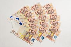50欧元三个爱好者  免版税库存照片