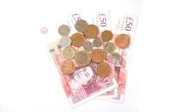 欧元和磅细节金钱 库存图片