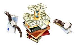欧元和美元手表在书 库存图片