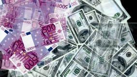 从欧元和美金的金钱 免版税库存照片