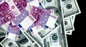 从欧元和美金的金钱 库存照片