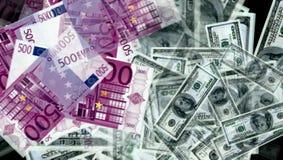 从欧元和美金的金钱 库存图片