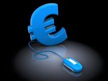 欧元和计算机老鼠 免版税库存照片
