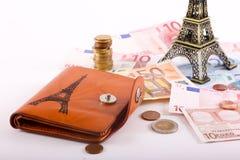 欧元在钱包里 库存照片