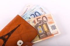 欧元在钱包里 免版税库存照片