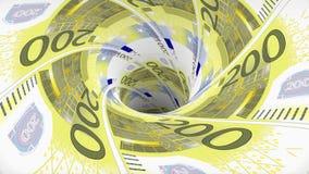 欧元污水池blackhole漏斗隧道无缝的圈动画背景新的质量财务事务冷却好 向量例证