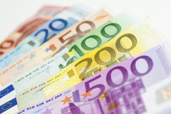 欧元注意反映 库存图片