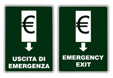 从欧元的亦称紧急出口,欧元区欧元区 库存照片