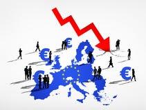 欧元的失败 免版税库存照片