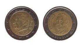 2欧元硬币、比利时和西班牙,欧洲 库存照片